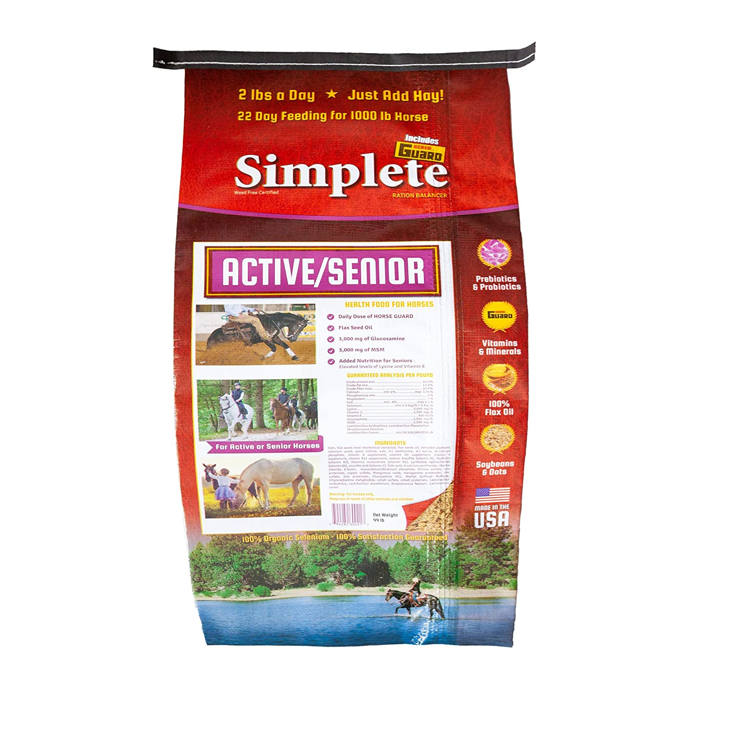 Horse Guard Simplete Senior/Active | Complete Equine Nutritional Food Supplement |Prevents Mineral and Vitamin Deficiencies | Helps in Digestion, Inflammation and Malnutrition | 44lb – 22 Day Supply