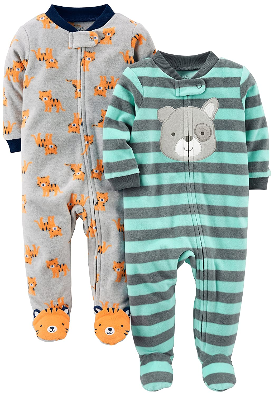 a017e432f0ba Simple Joys by Carters Baby Boys 2-Pack Fleece Footed Sleep and Play ...