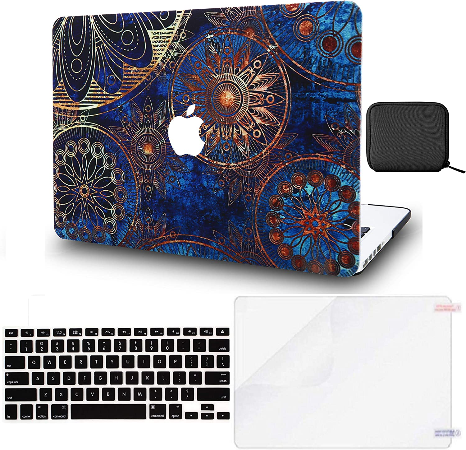 LuvCase 4 in 1 Laptop Case for MacBook Air 13 Inch (Touch ID)(2020) A2179 Retina Display Hard Shell Cover, Pouch, Keyboard Cover & Screen Protector (Bohemian)