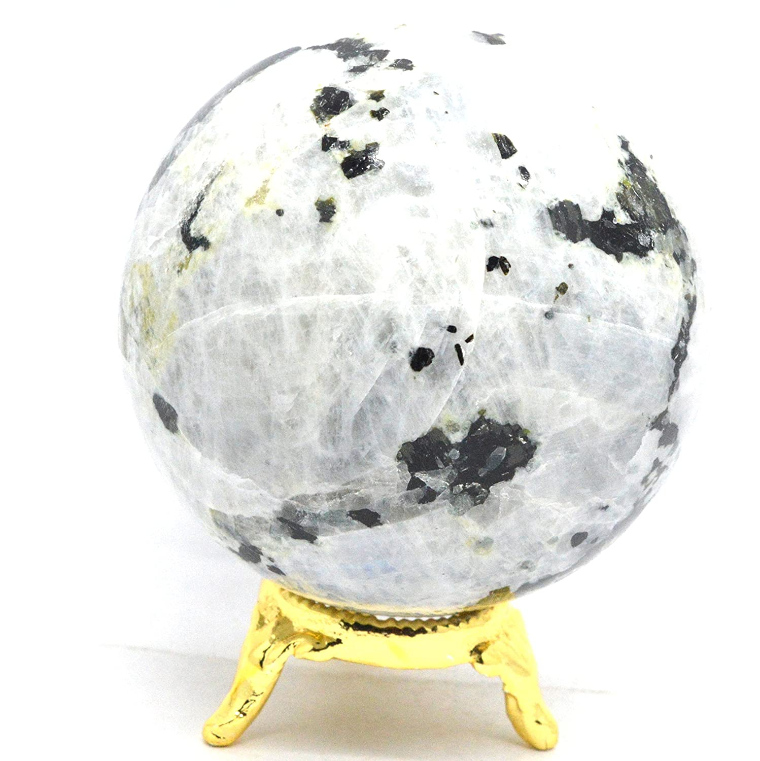 Exclusive Natural Sun Stone Gemstone Polished Crystal Sphere Ball Aura Balancing Metaphysical (40-50 MM, Amethyst) Healing Crystals India