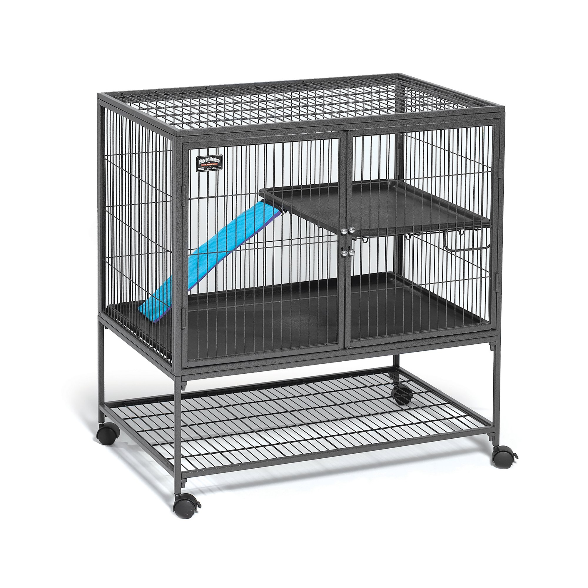 Midwest Deluxe Ferret Nation Double Unit Ferret Cage (Model 182) Includes 2 Leak-Proof Pans, 2 Shelves, 3 Ramps w/Ramp Covers & 4 Locking Wheel Casters, Measures 36'' L x 25'' W x 62.5'' H Inches by MidWest Homes for Pets