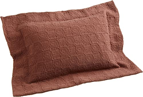 Belle Epoque Rose Coastal Matelasse Boudoir Pillow, Chocolate