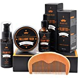 Beard Grooming Kit for Men/Dad/Husband Beard Care Gift Sets with Bearded Oil/Conditioner+Beard Wax/Balm+Beard Shampoo/Wash+Beard Comb 100% Natural Ingredients Softener for Moisturizing Growth