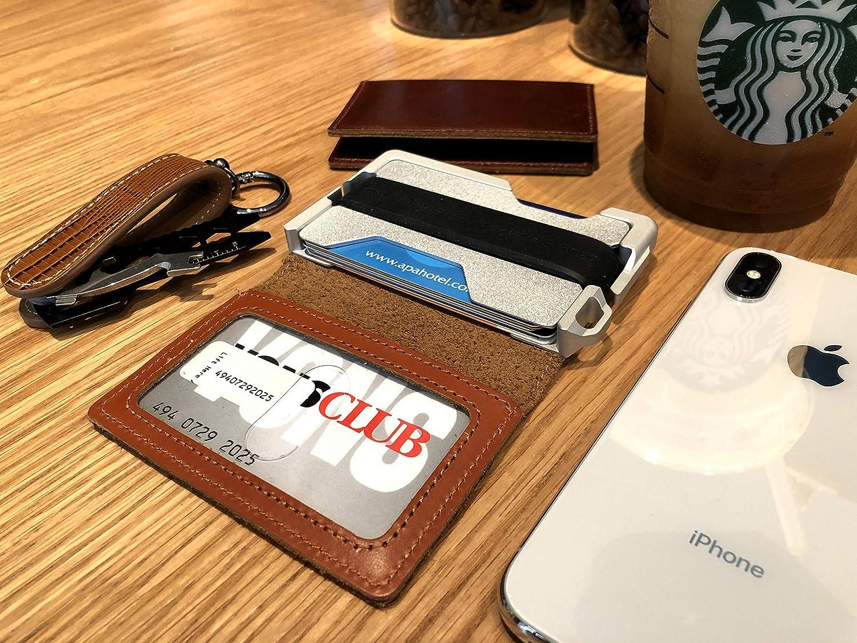 MURADIN Dapper Bifold RFID Wallets for Men Leather with Key Chain Organizer Black kit Card Wallet Men Tactical Aluminum Metal Slim Wallet