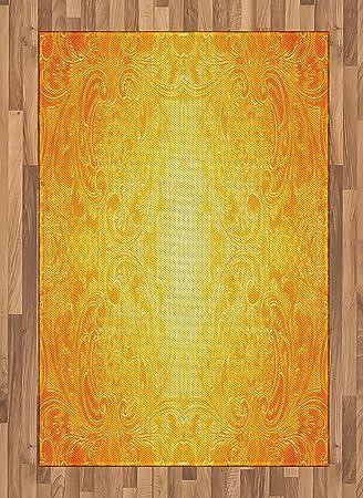 Amazon Com Ambesonne Yellow Area Rug Victorian Style Antique