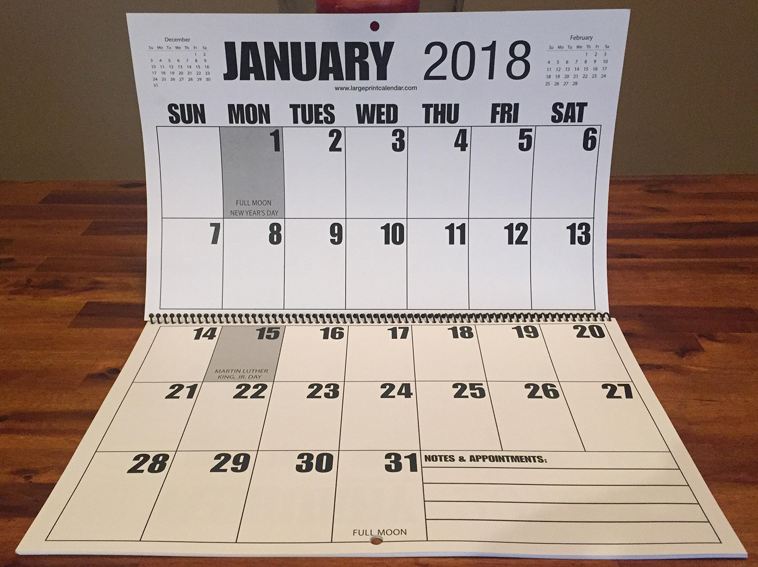Jumbo Large Print 2018 Wall Calendar 13-Months, 17'' x 11'', Hanging 17'' X 22''
