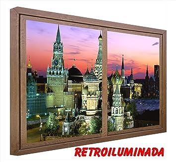 RETROILUMINADOS CUADRO VENTANAS FALSAS RETROILUMINADAS CON SENSOR DE MOVIMIENTO. Basílica de San Basilio Moscu (60_x_100_cms, MADERA): Amazon.es: Hogar