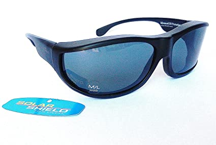 1710ecd661e Image Unavailable. Image not available for. Color  SOLAR SHIELD  quot Fit  Over Your RX Glasses quot  PANORAMA Polarized Sunglasses ...