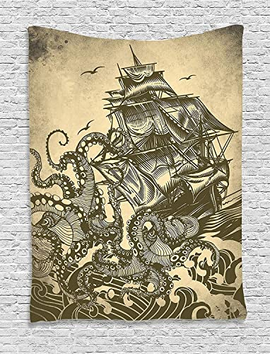 Ambesonne Nautical Tapestry, Octopus and Ship in a Storm Marine Elements with Wavy Ocean, Wall Hanging for Bedroom Living Room Dorm, 60 X 80 , Beige Sepia