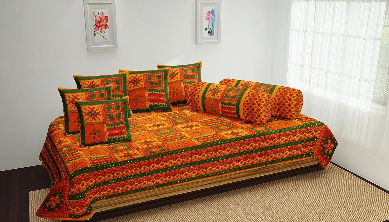 Home Decor Cotton Diwan Set - Kantha Work Bedsheet