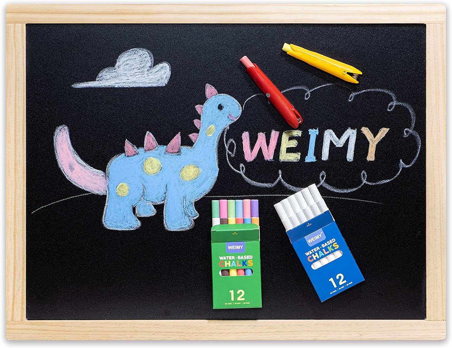 12CWH-RED WEIMY 12-Count Colored /&12-Count White Dustless Chalks Non-Toxic Truly Dust Free Chalk for Art Decorating Whiteboard Blackboard Includes Fun Magnetic Chalk Holder