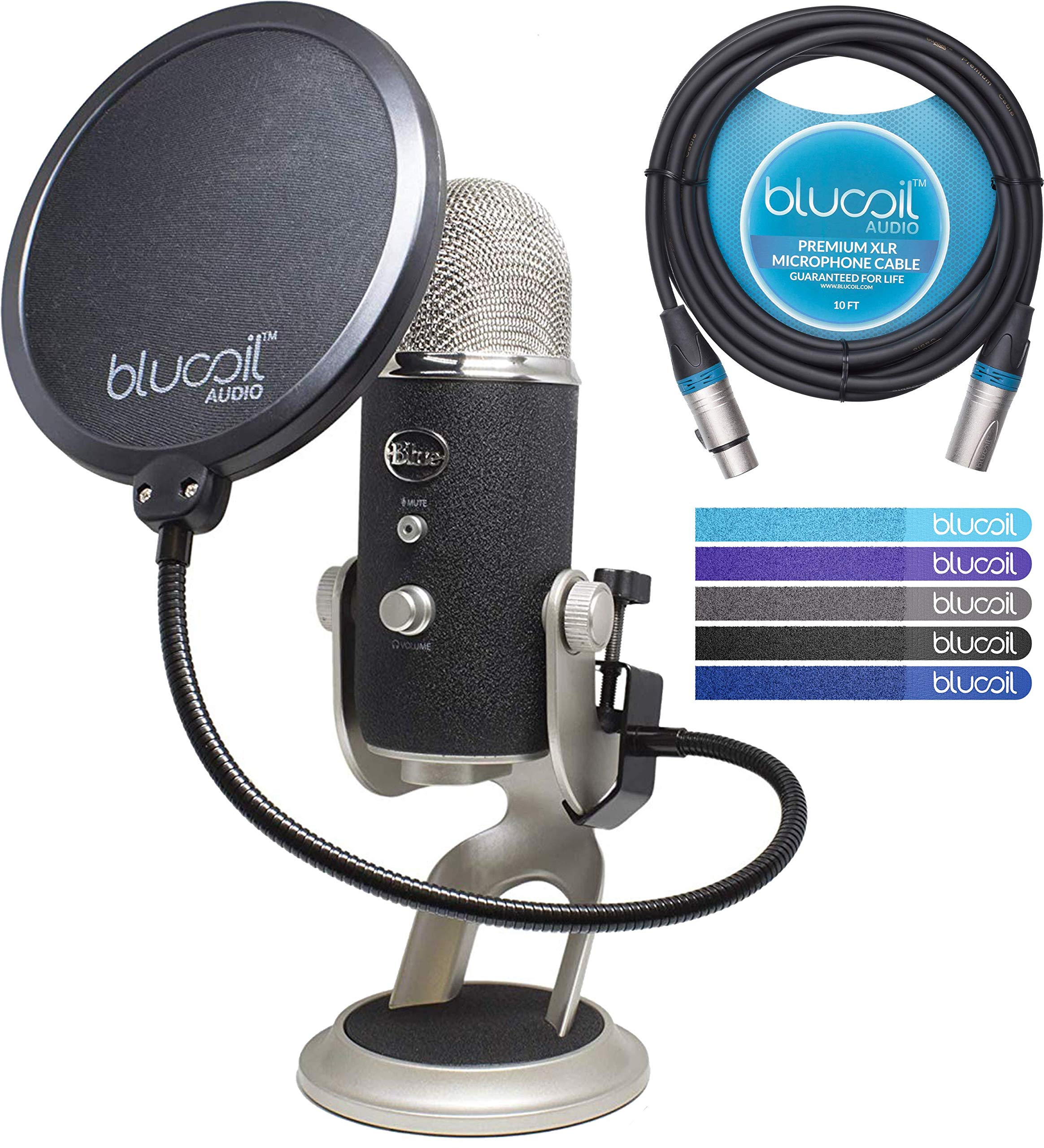 Blue Microphones Yeti PRO XLR & USB Condenser Microphone Bundle with Blucoil Pop Filter, 10-Ft XLR Cable and 5-Pack of Reusable Cable Ties