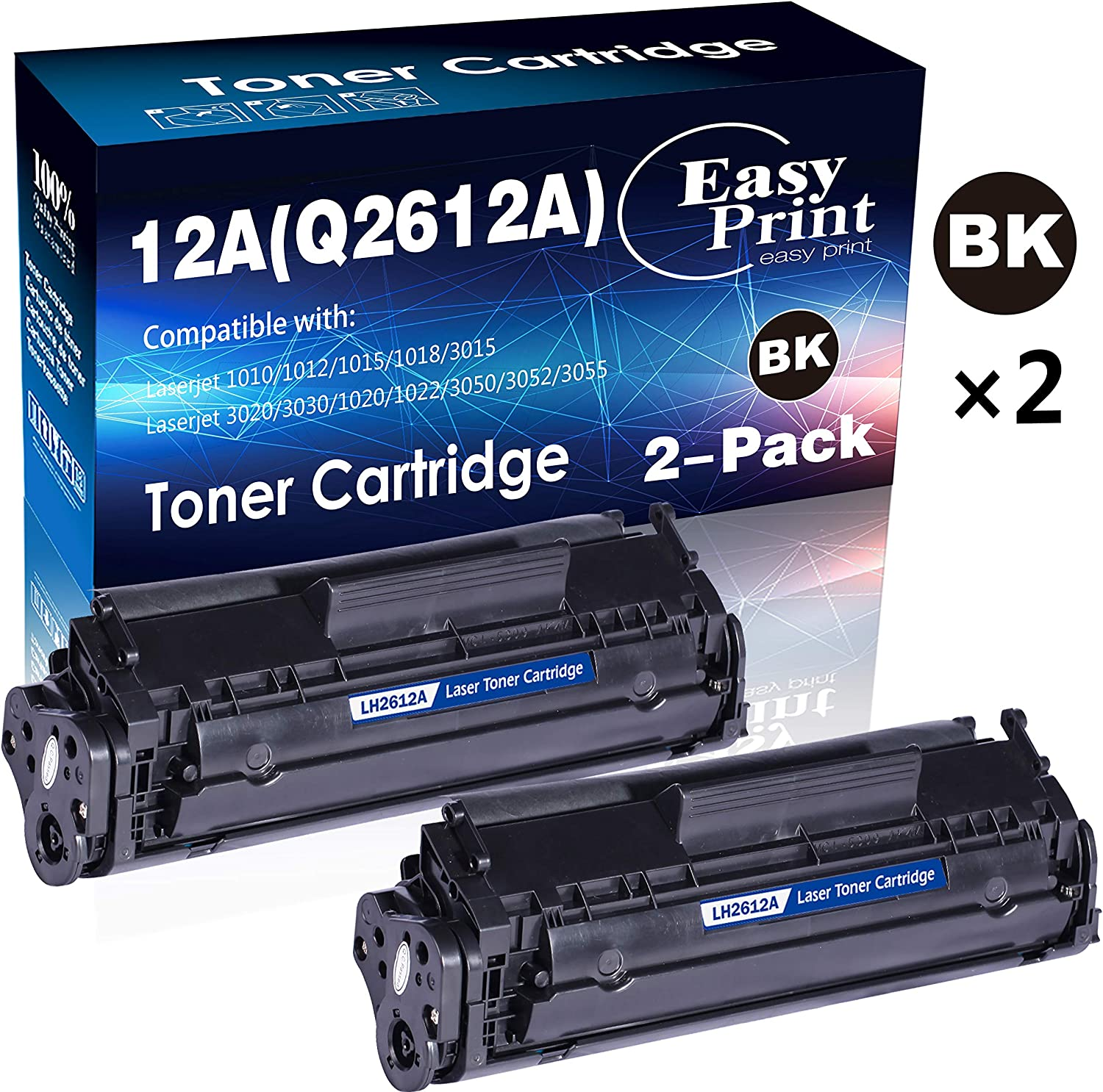 (2-Pack, Black) Compatible 12A Q2612A Toner Cartridge 2612A Used for HP Laserjet Laserjet Pro 1010 1012 1018 1020 1022 1022n 3015 3030 3050 3052 3055 M1319F Printer, by EasyPrint