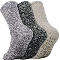 Daventry Ultra Thick Fuzzy Grip Socks 3pk, Non-Skid Slipper Hospital Sock