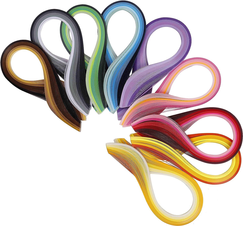 QH-Shop Tiras de Papel Quilling Filigrana de Papel Colores Surtidos con Herramientas para DIY Decoraci/ón hogare/ña V/íveres 5mm*39cm 9packs