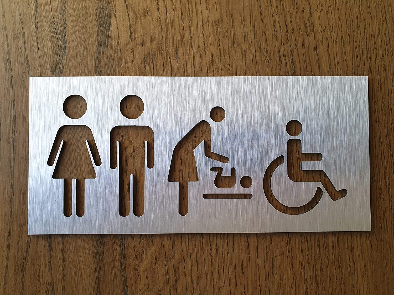 All Gender WC Symbol Aluminium Unisex Bathroom Sign Universal Toilet Sign Sign for Business Male Female Baby Change Handicap Restroom Plaque Office Decor