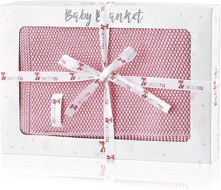 Sweety Fox - Manta Bebe para Niño y Niña 80 x 100 cm - 100% Algodon Ecológico - Mantita Bebe Rosa - Accesorio Perfecto para Bebé - Regalo perfecto para Bebe Recién Nacido