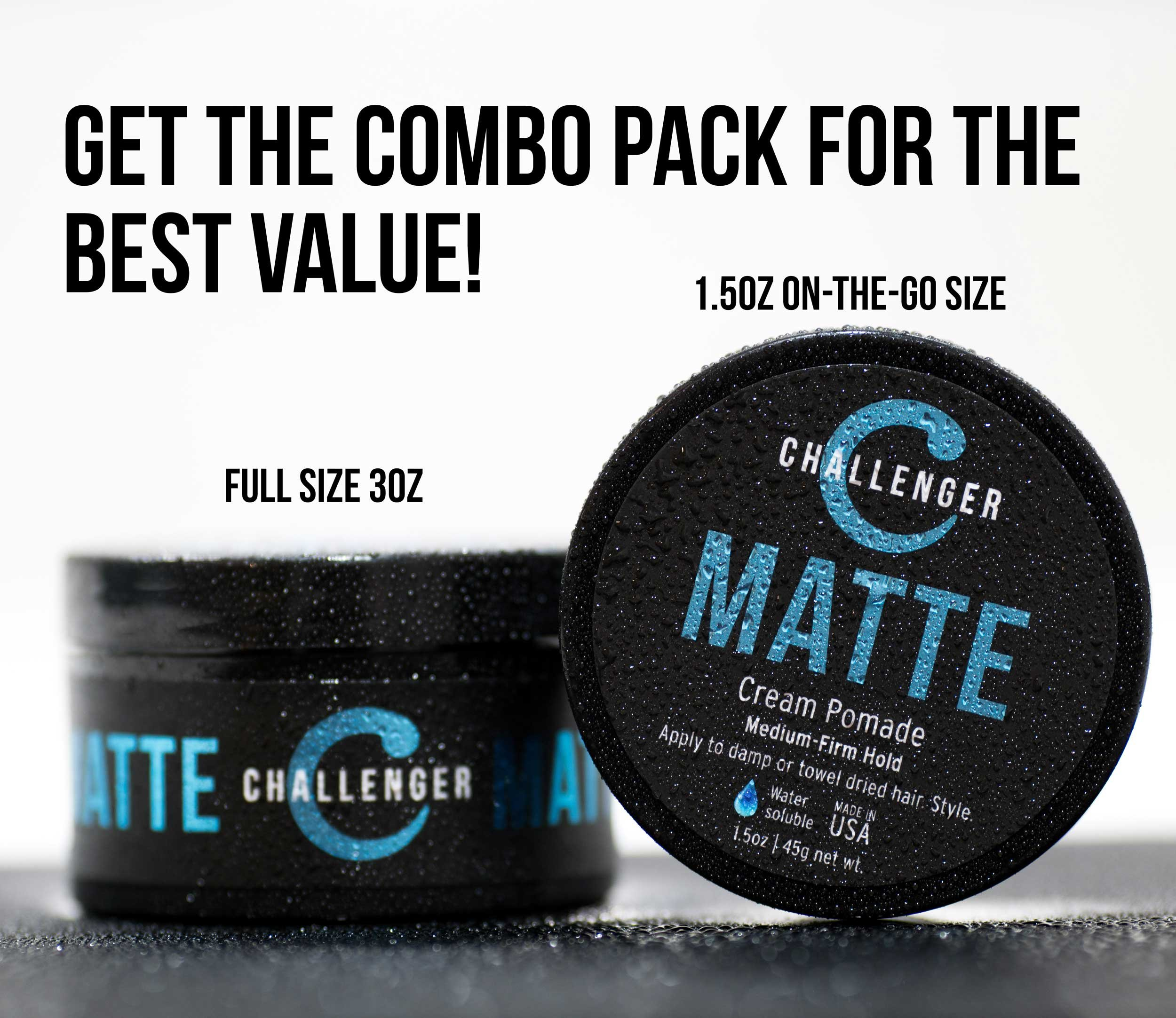 Matte Cream Pomade - Challenger 3oz - Medium Firm Hold - Water Based, Clean & Subtle Scent, Travel Friendly. Men's Hair Wax, Fiber, Clay, Paste, Styling Cream All In One by Challenger (Image #6)