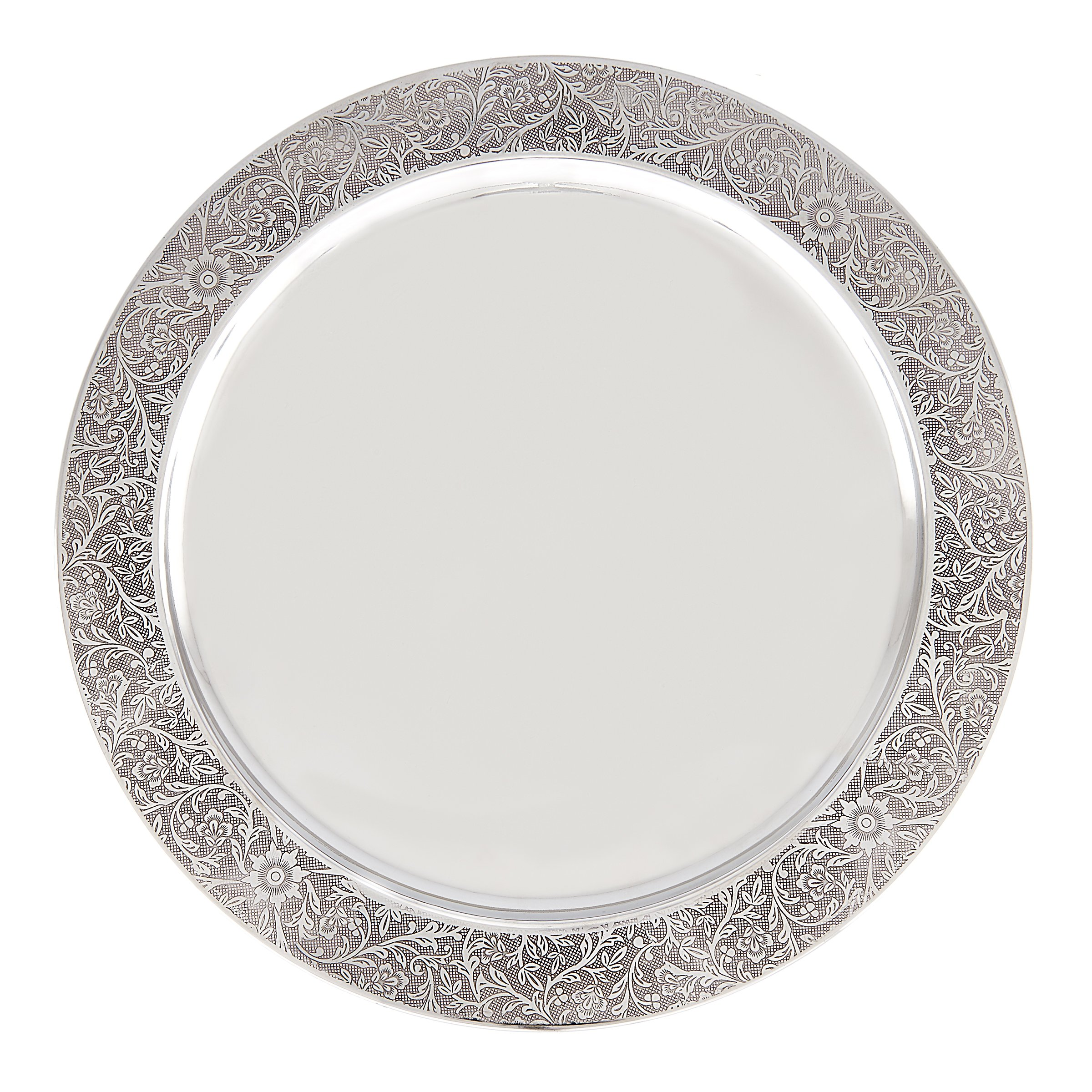 Old Dutch 13'' Etched Rim Charger Plate (Set of 6), Shiny Stainless Steel