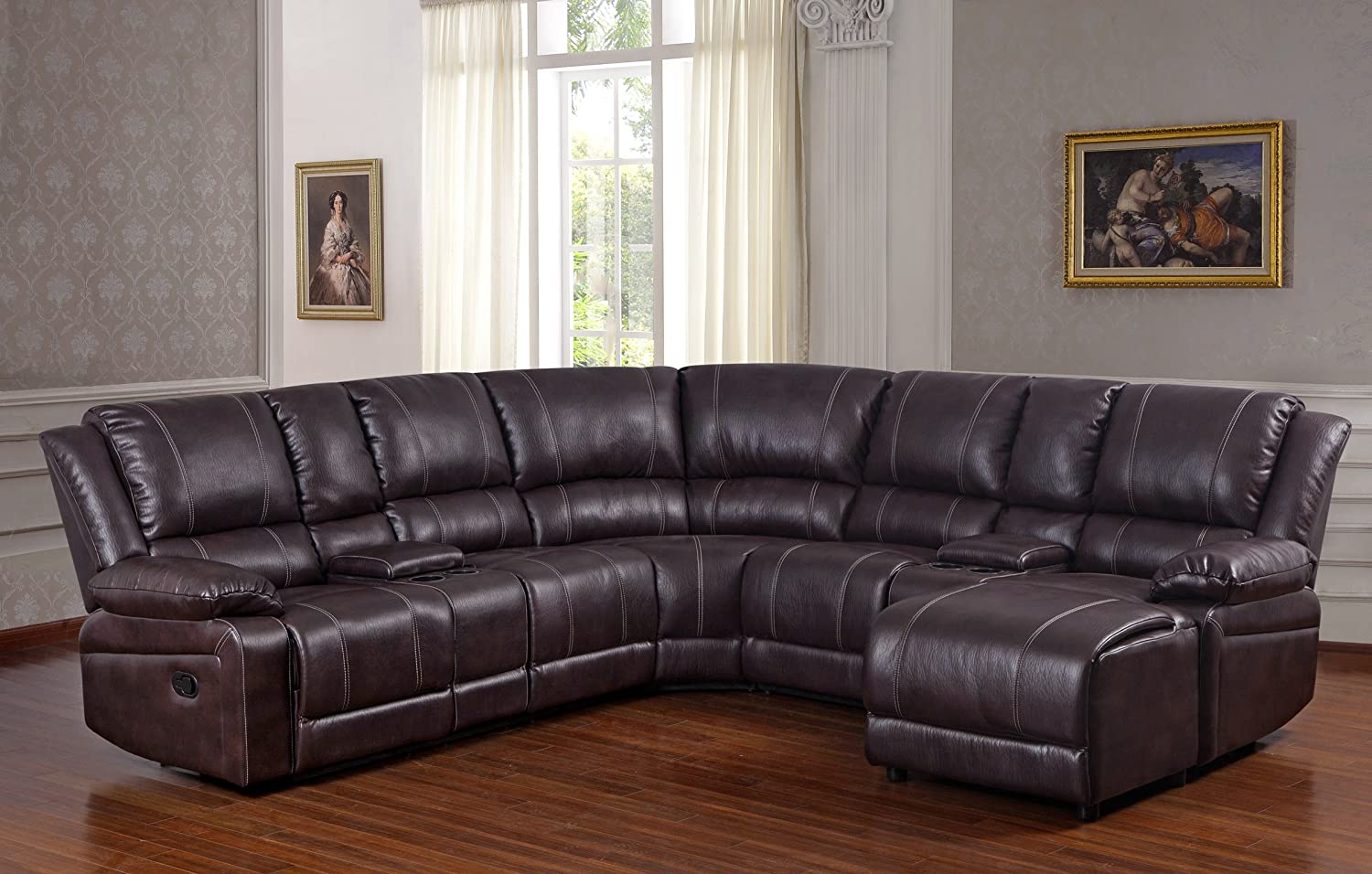 Amazon.com: UFE Robinson Sectional Sofa With Recliner Chaise Console W/Cup  Holders Bubble Leather Brown: Kitchen U0026 Dining