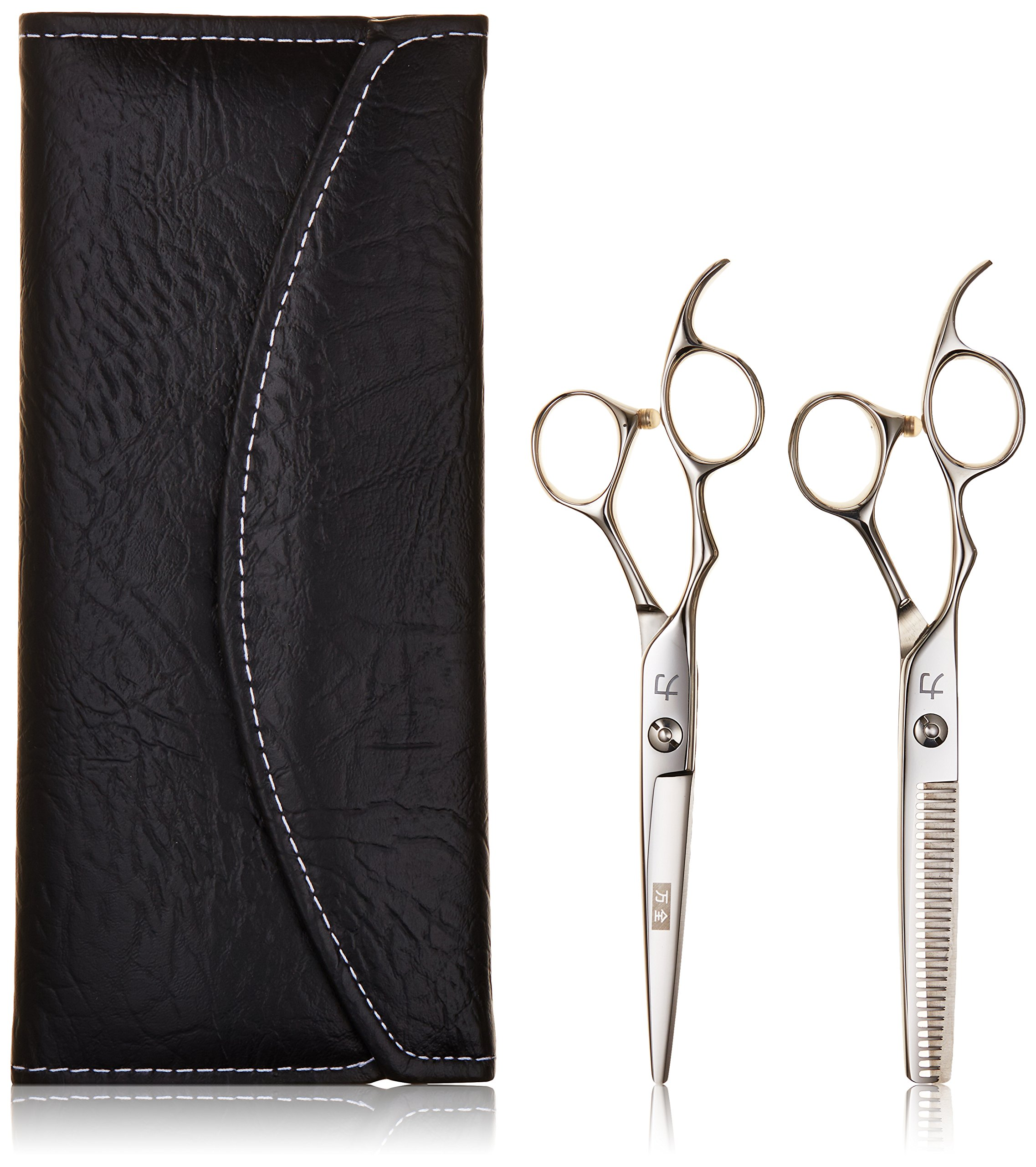 ShearsDirect Two Left Handed Cutting and Thinning Shears with 30 Teeth, 6.0 Inch, 4.1 Ounce