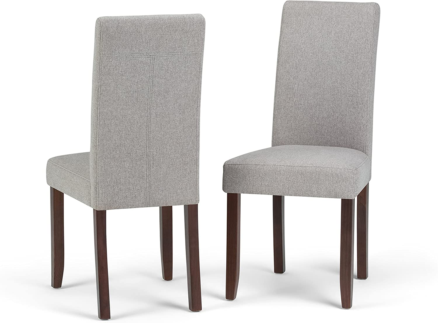 Simplihome Acadian Contemporary Parson Dining Chair Set Of 2 In Cloud Grey Linen Look Fabric Chairs Amazon Com