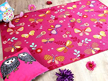 Kinder Spiel Teppich Schmetterling Pink In 24 Grossen Amazon De