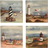 """CoasterStone AS9240 Absorbent Coasters, 4-1/4-Inch, """"Coastal Lighthouses"""", Set of 4"""