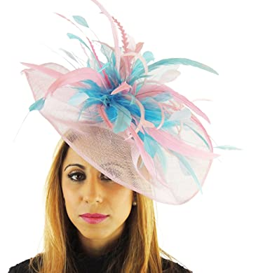 Candy Pink   Turquoise Sinamay and Feather Fascinator Hat for Ascot ... 5c21ff6432c