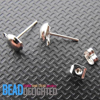 50 Silver Sets Half Ball Earring Ear Post Studs /& Backs Metal Jewellery Findings