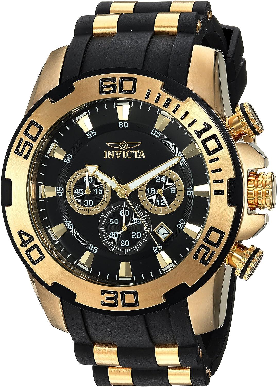 Invicta Men's Pro Diver Scuba 50mm Gold Tone Stainless Steel and Silicone Chronograph Quartz Watch, Black/Gold (Model: 22340)