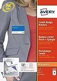 Avery 50 Badges en Plastique Combi (Pince métal/Epingle) + 50 Inserts Microperforés - 54x90mm - Transparent (4820)