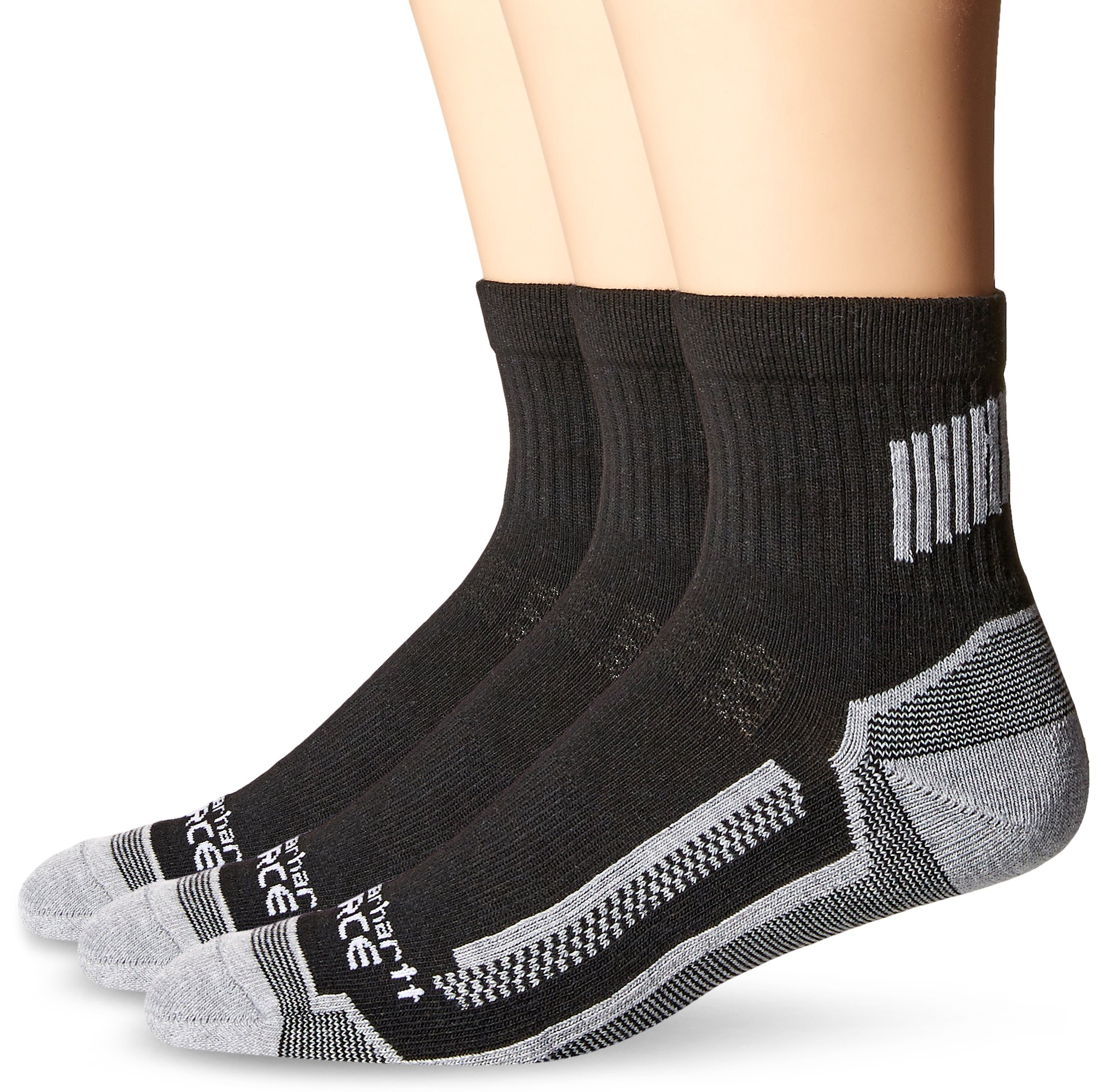 Carhartt Men's 3 Pack Force Performance Work Quarter Socks, Black, Sock Size:10-13/Shoe Size: 6-12