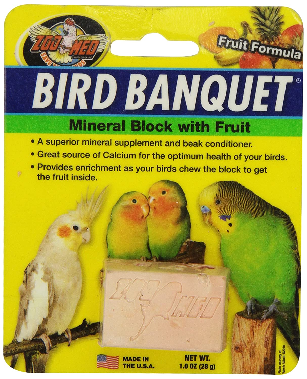 Zoo Med 26384 Bird Banquet Fruit Mineral Block, 1 oz/Small TopDawg Pet Supply 976619 BZMBBFS
