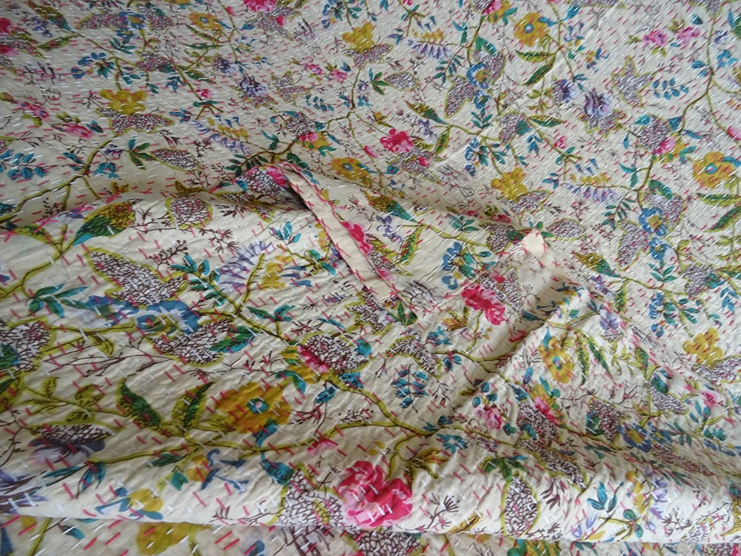Kantha Blanket Bohemian Bedding Kantha Size 90 Inch x 108 Inch 02 Bed Cover King Kantha bedspread Tribal Asian Textiles Multicolor Paisley PARADISE Print King Size Kantha Quilt