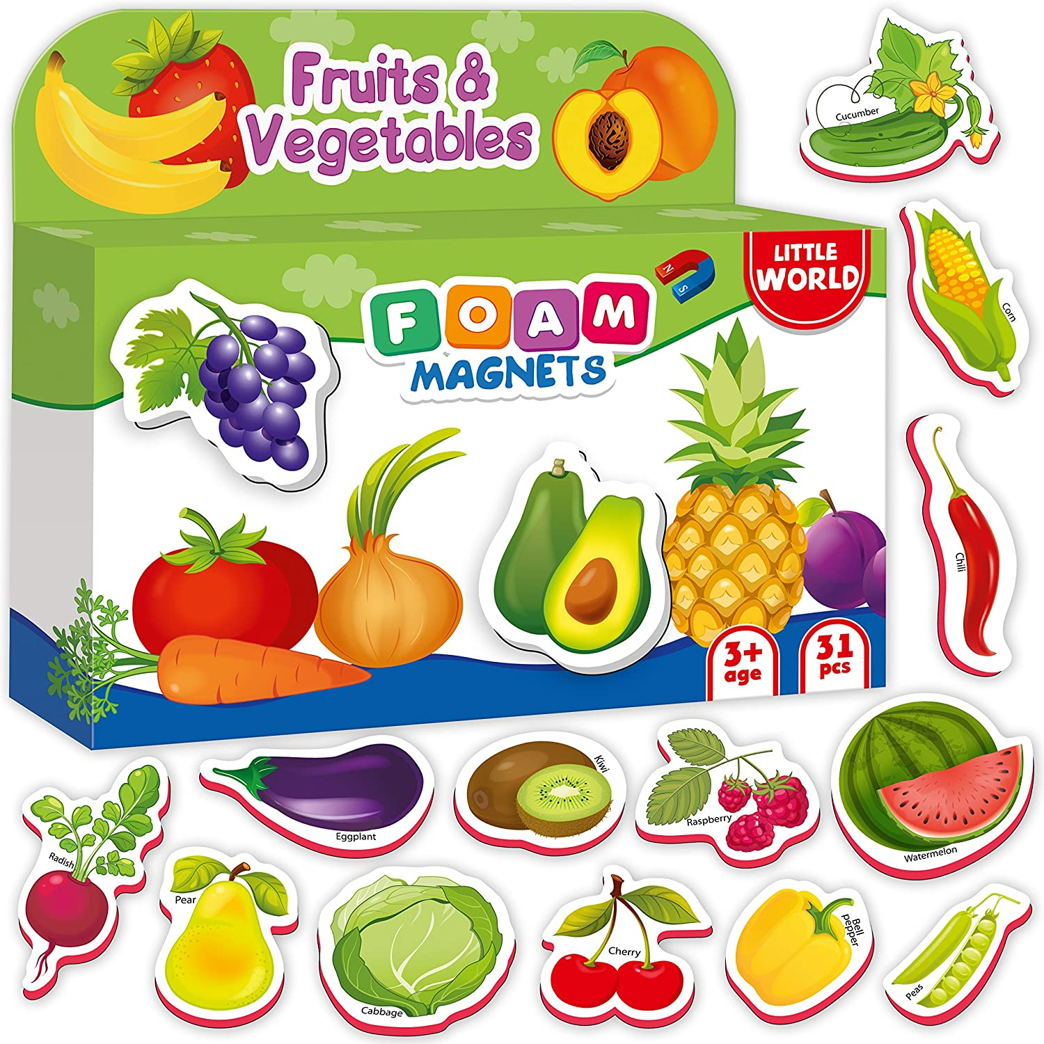 Refrigerator Magnets for kids FRUITS & VEGGIES (31 pcs) - Fridge Magnets for Toddlers activity - Kid magnets - Toddler magnets - Baby Magnets - Food Magnets - Magnetic Shapes - Foam Magnets