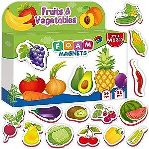 Refrigerator Magnets for kids FRUITS & VEGGIES (31 pcs) - Fridge Magnets for Toddlers activity - Kid magnets - Toddler magnets - Baby Magnets - Food Magnets - Magnetic Shapes - Foam Magnets