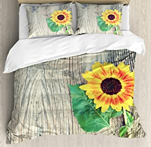 Ambesonne Sunflower Duvet Cover Set, Sunflower on Wooden Old Board Bouquet Floral Mother Earth Photo, Decorative 3 Piece Bedding Set with 2 Pillow Shams, Queen Size, Brown Yellow