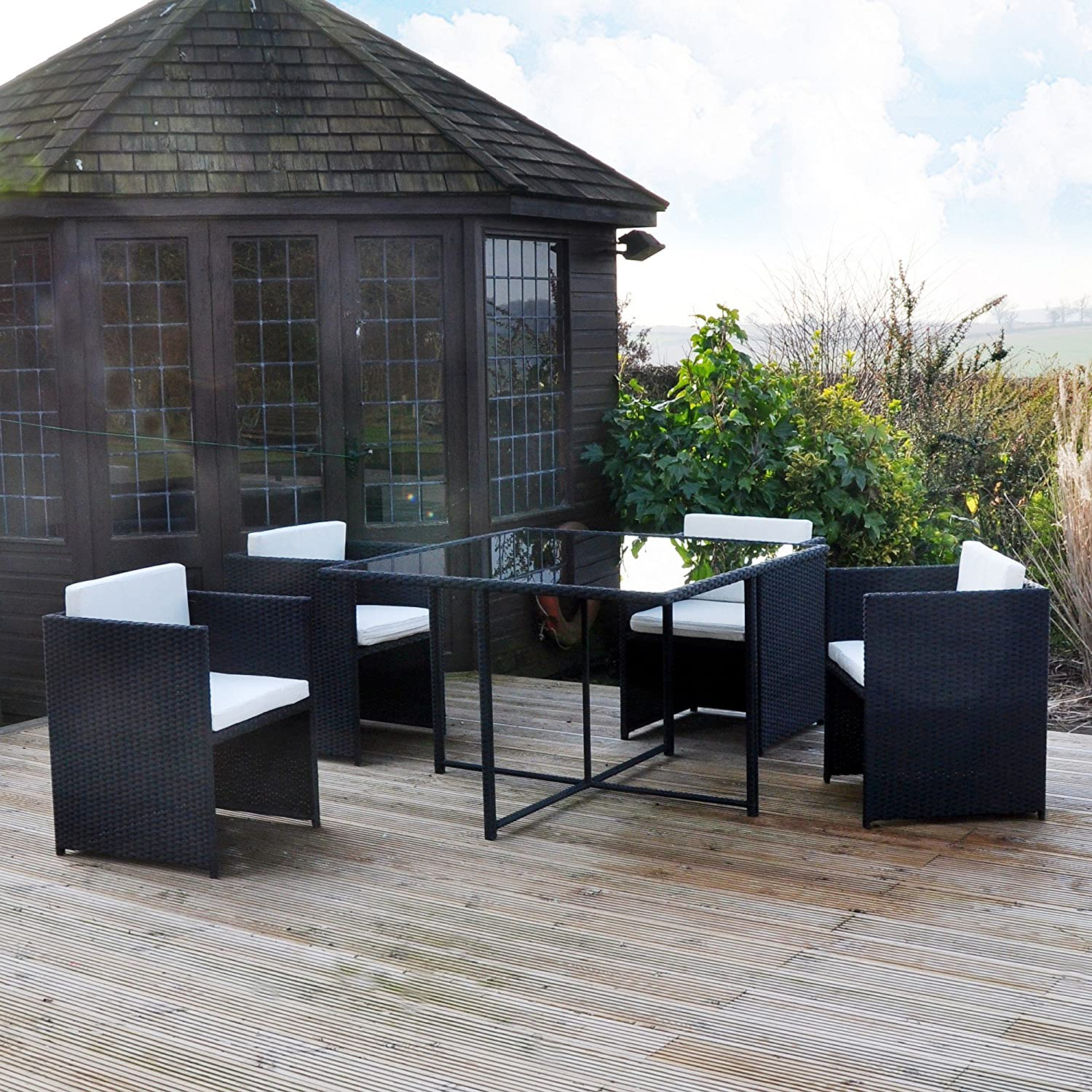 Kingfisher RCUBE Rattan Effect Cube Table and 4 Chairs Garden Set Black