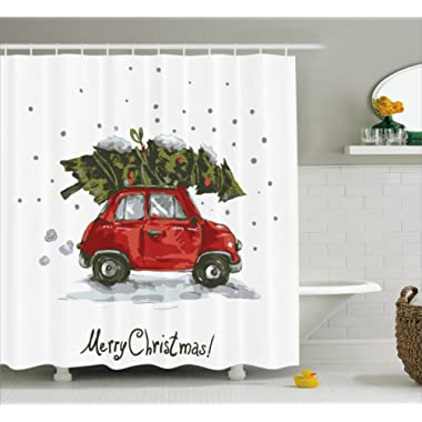 Ambesonne Christmas Shower Curtain, Red Retro Style Car Xmas Tree Vintage Family Style Illustration Snowy Winter Art, Fabric Bathroom Decor Set with Hooks, 84 inches Extra Long, Red Green