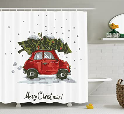 Ambesonne Christmas Shower Curtain Red Retro Style Car Xmas Tree Vintage Family Illustration Snowy