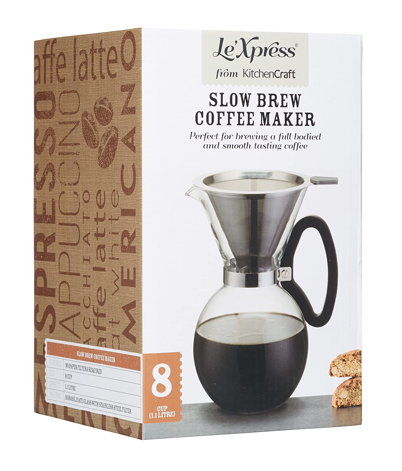 8 Cups KitchenCraft LeXpress Pour-Over Drip Coffee Maker 1.1 Litre