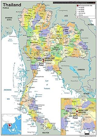 Thailand Karte.Thailand Politische Karte Papier Laminiert Ga A2 Size 42 X 59 4 Cm