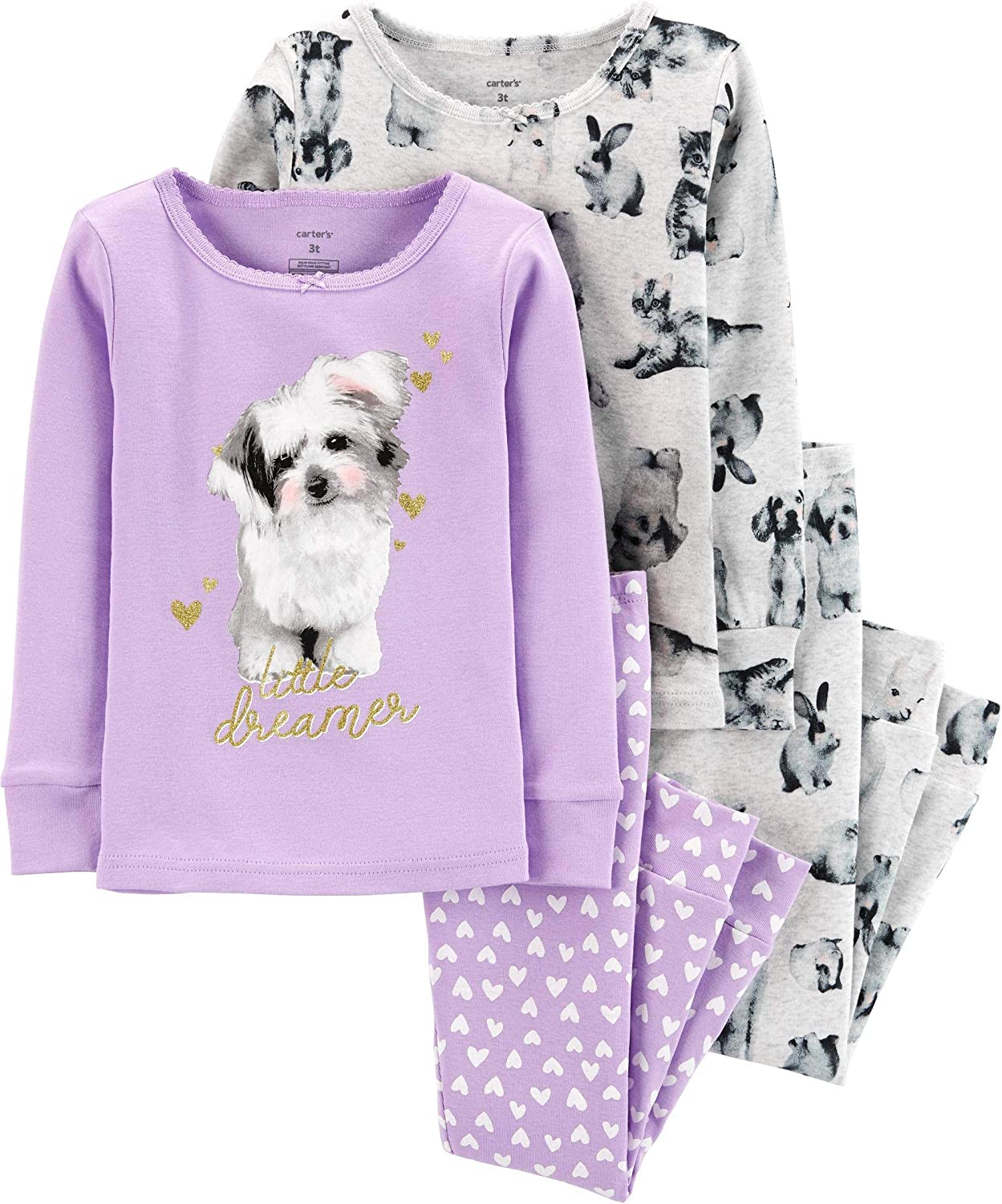Carters Toddler and Baby Girls 4 Piece Cotton Pajama Set