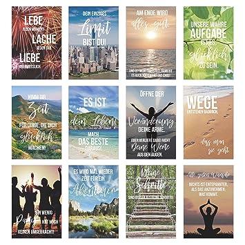 Edition Seidel Set 12 Postkarten Mit Spruchen Karten Mit Spruch Geschenkidee Dekoidee Liebe Freundschaft Leben Motivation Lustig
