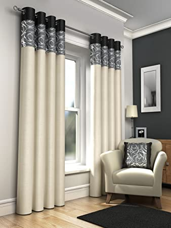 ONE PAIR OF FAUX SILK FULLY LINED EYELET CURTAINS 90 X APPROX FOIL PRINT CREAM WITH BLACK GREY AND SILVER Amazoncouk Kitchen Home