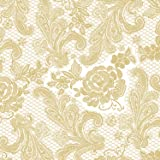 Paperproducts Design 7658 15-Pack Lace Royal Elegant Paper Napkin, 6.5 by 6.5-Inch, Pearl/Gold