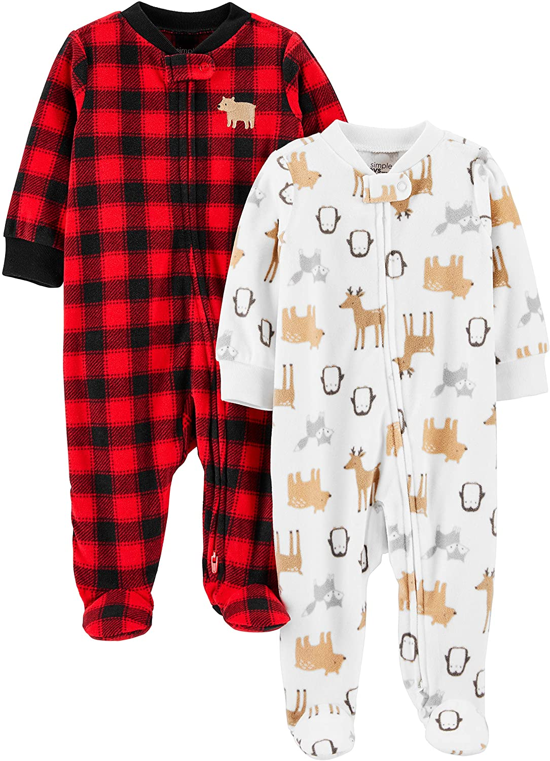 Simple Joys by Carters 2-Pack Holiday Loose Fit Flame Resistant Fleece Footed Pajamas Mixte b/éb/é