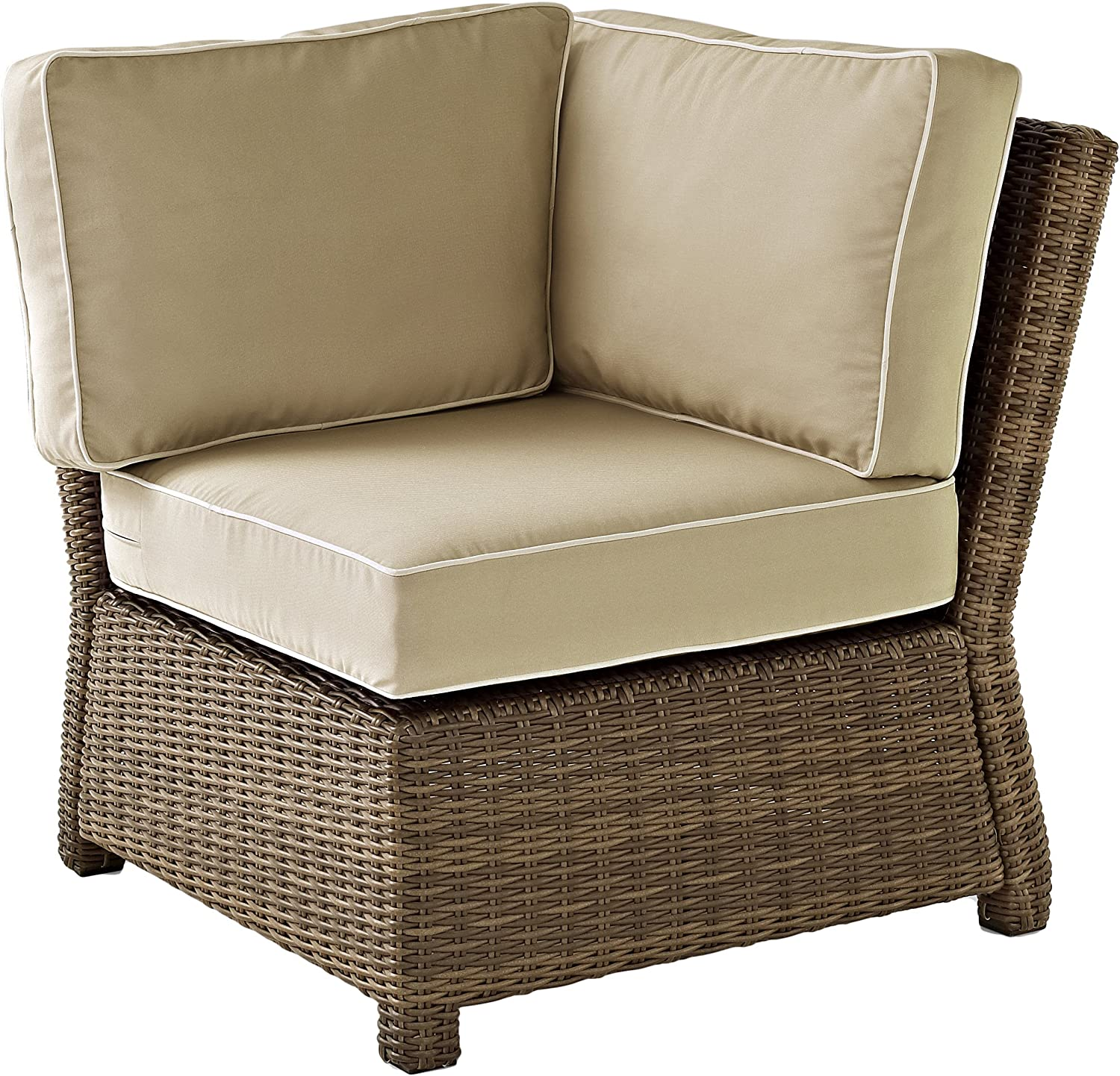 Crosley Furniture KO70018WB-SA Bradenton Outdoor Wicker Sectional Corner Chair, Brown with Sand Cushions