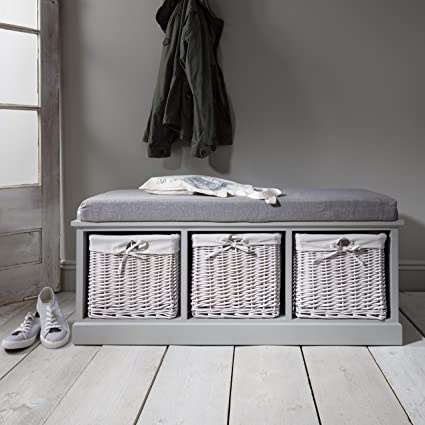 Fantastic Laura James Grey Storage Bench With Cushion Hallway Shoe Cabinet With 3 Storage Baskets And Cushion Seat Fully Assembled Squirreltailoven Fun Painted Chair Ideas Images Squirreltailovenorg